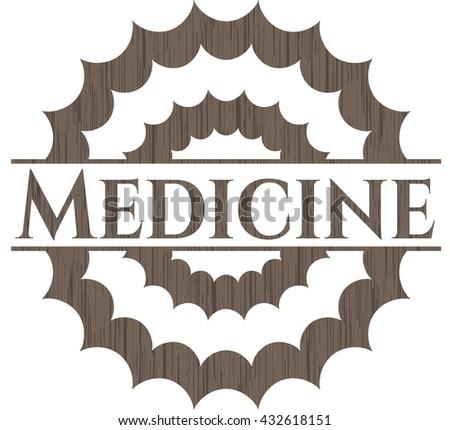Medicine realistic wooden emblem