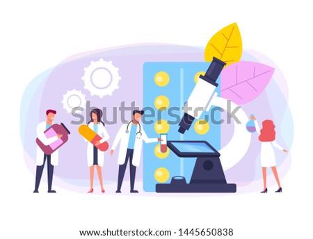 Medicine researching test. Health care concept. Vector flat cartoon design graphic illustration