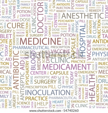 MEDICINE. Seamless vector background. Wordcloud illustration.
