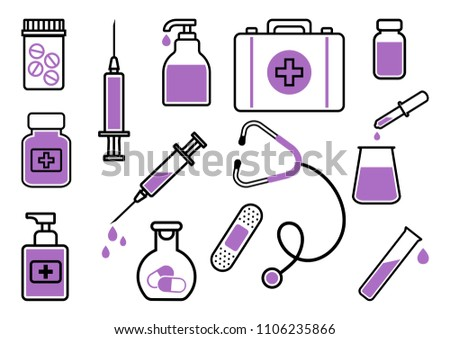 medicine set of black and