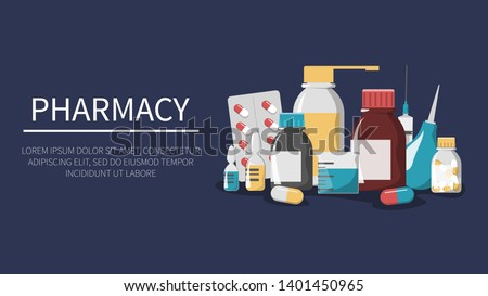 Medicine set. Pharmacy web banner. Drug bottle, pill, first aid kit and plaster. Pharmacy and healthcare. Disease treatment with tablet. Syringe for injection.