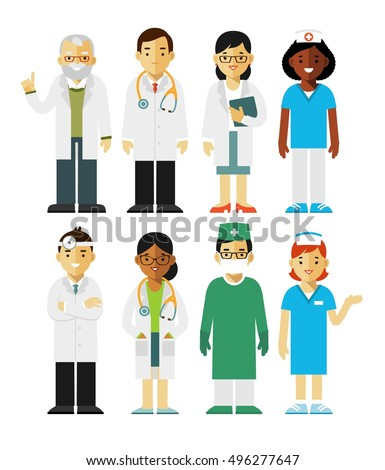 Medicine set with doctors and nurses in flat style isolated on white background Practitioner young doctors man and woman standing. Medical staff.