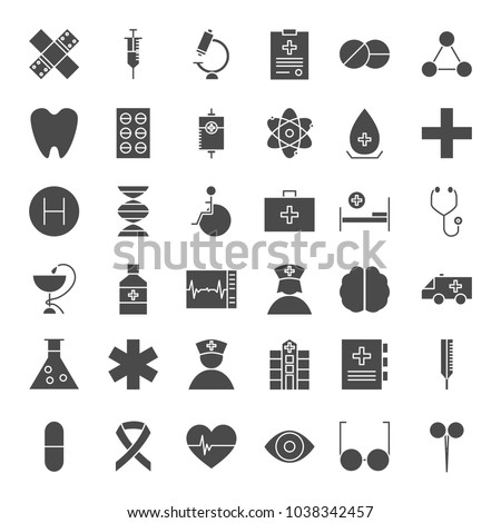 Medicine Solid Web Icons. Vector Set of Healthcare Glyphs.