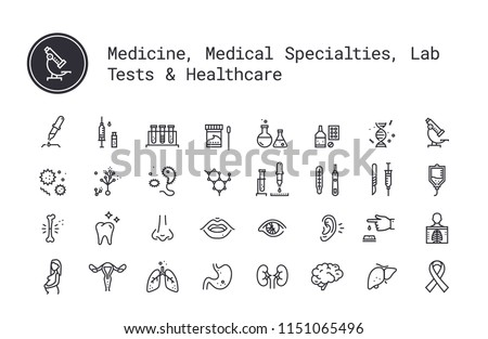 Medicine specialties, clinical laboratory thin line icons. Medical science, virology study, microbiology, immune system and genetics assay, equipment and tools. Human body, internal and sensory organs