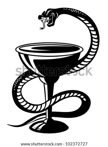 Medicine symbol - snake on cup in retro style, such logo. Jpeg version also available in gallery