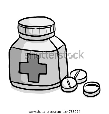 Medicine Tablets And Package Bottle Cartoon Vector And