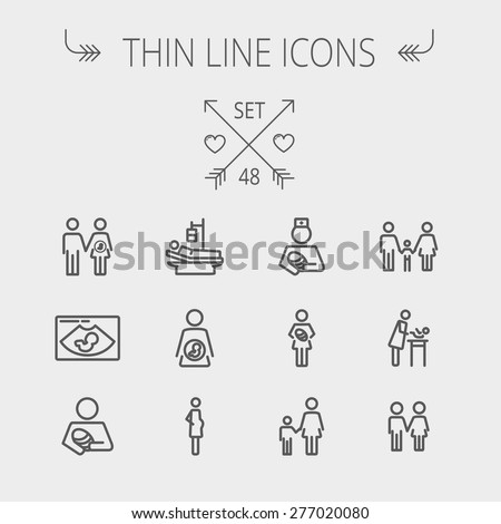 medicine thin line icon set for