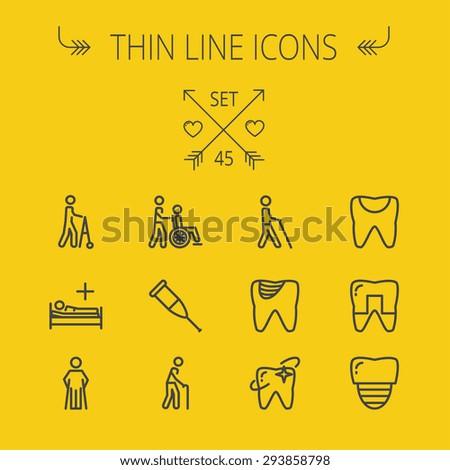 medicine thin line icon set for