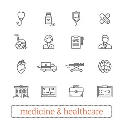 Medicine thin line icons: medical services, ambulance, health care tools, diagnostic equipment, pharmacology, reanimation, outpatient treatment. Vector elements for web, mobile, applications, prints.