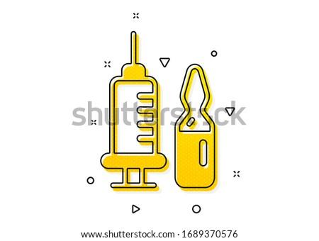 Medicine vaccine sign. Medical vaccination icon. Pharmacy medication symbol. Yellow circles pattern. Classic medical vaccination icon. Geometric elements. Vector