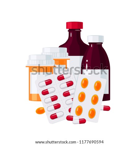 Medicine vector concept. Bottles with drugs and pills in blisters in flat style on white background