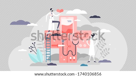 Medicine vector illustration. Health aid system flat tiny person concept. Overall professional healthcare industry with symbolic elements. Associatively doctor, nurse, stethoscope, red cross and drugs