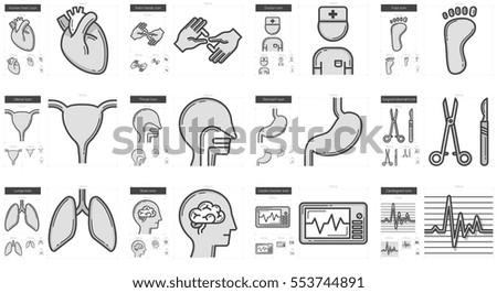 medicine vector line icon set