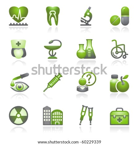 Medicine web icons, set 2. Gray and green series.