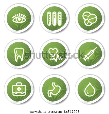 Medicine web icons set 1, green  stickers