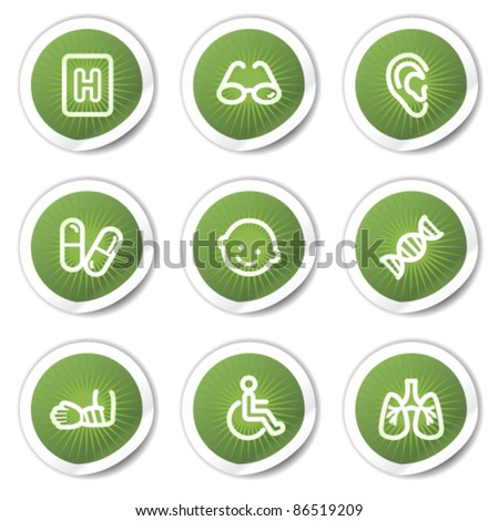 Medicine web icons set 2, green  stickers