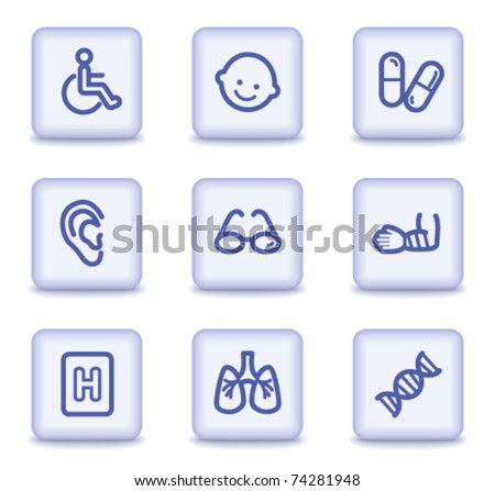 Medicine web icons set 2, light violet glossy buttons