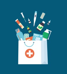 Medicines, drugs, pills and bottles falling down into paper shopping bag. Home delivery pharmacy service. Vector illustration in flat style on white background