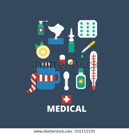 medicines isolated on dark