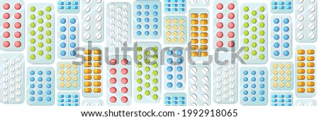 Medicines seamless pattern. Illustration with pills. Concurrency. Medicinal drugs. Pharmaceuticals. Ambulance. Pharmacy. Flat design. Vector