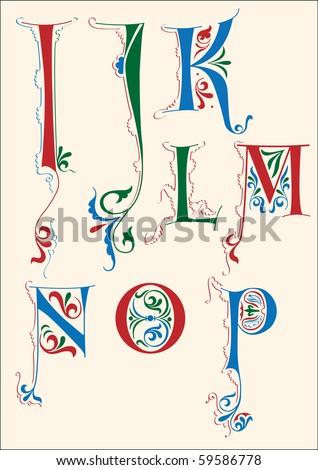 Medieval Manuscript Alphabet Medieval alphabet i-p - stock