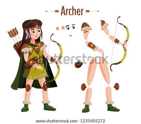 medieval archer woman in armor