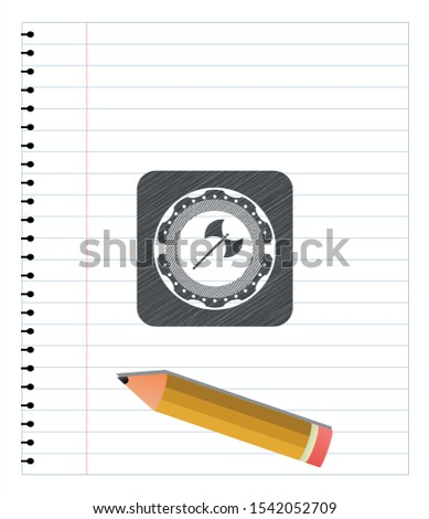 medieval axe icon pencil emblem