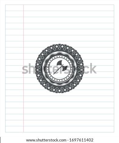 medieval axe icon pencil emblem