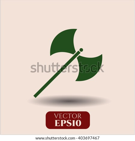 medieval axe vector icon or