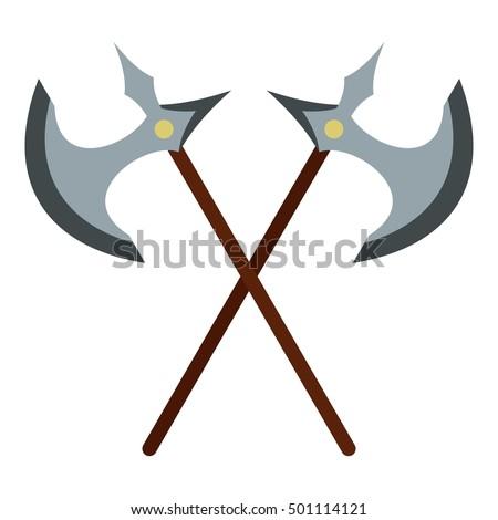 medieval battle axe icon flat