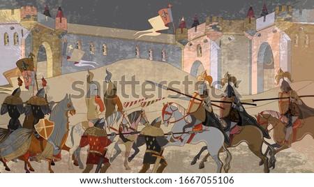 medieval battle scene knights