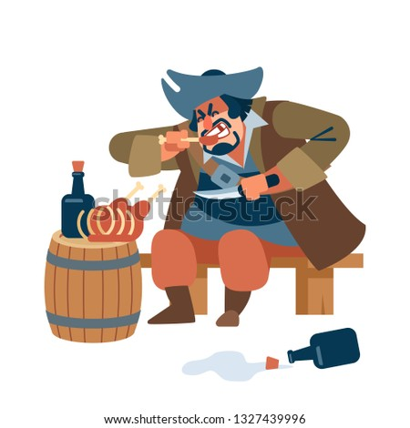 Medieval big man. Scary pirate eats meat with pleasure with a knife in his hand. The character of the pirate. Vector illustration of flat cartoon on white background