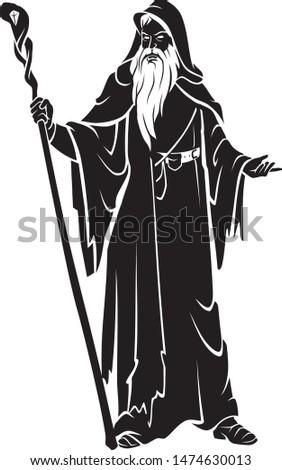 Medieval Black Wizard, Fantasy Character Illustration Сток-фото ©
