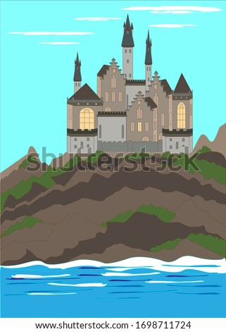 Medieval castle, ancient citadel or impregnable fortress with stone towers on rocky peak. Cartoon vector. Fairytale king palace, royal stronghold, shelter high in mountains.