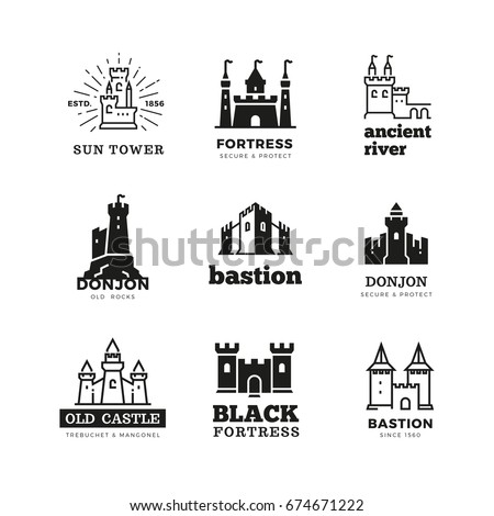 Medieval castle and knight fortress vector ancient royal logo set. Fairytale fortress logo, historical royal building citadel illustration Сток-фото ©