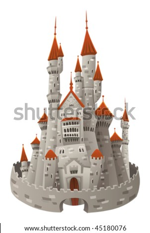 Medieval castle. Cartoon and vector object  isolated - stock vector