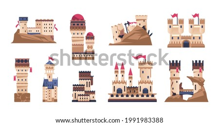 Medieval castle. Cartoon old fort or kings palace. Historic building with towers and flags. Ancient bastion and citadel. Ruins of stronghold on cliff. Vector fortified constructions set Сток-фото ©