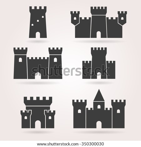 medieval castle icon vector set