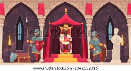 Medieval castle interior flat cartoon composition with king throne armed knight coat of arms guard vector illustration