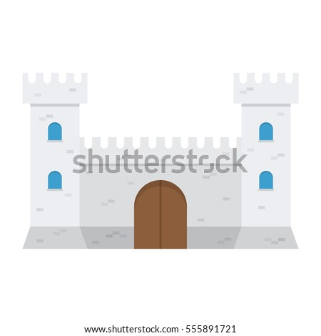 medieval castle, isolated on white background. Vector illustration