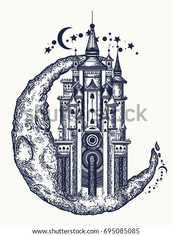 medieval castle on the moon