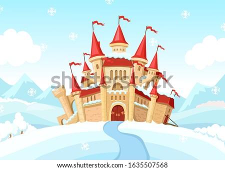 medieval castle on winter