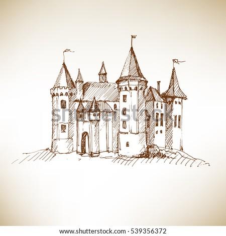 medieval castle sketch vector