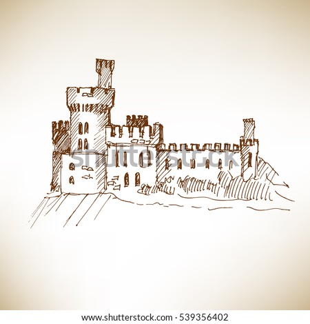 Medieval castle sketch. Vector illustration.