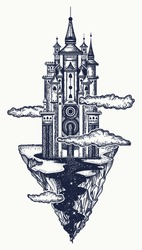 Medieval castle tattoo art. Ancient castle on the mountain. Symbol of the fairy tale, dream, magic