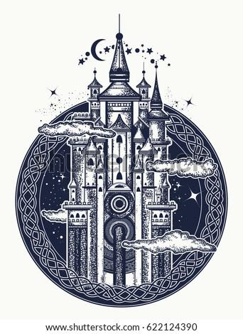 medieval castle tattoo art
