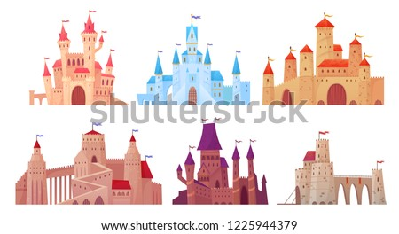 Medieval castle towers. Fairytail mansion exterior, king fortress castles and fortified palace with gate. Old ancient gothic tower fortress or fairy citadel cartoon vector isolated icons set stock photo