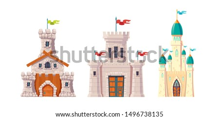 Medieval castles, fairytale corteses, fantasy strongholds with rough-hewn, polished stone walls, flags on high watchtowers, wooden gates with forged metal hinges cartoon vector set isolated on white