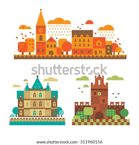 medieval castles in the fall