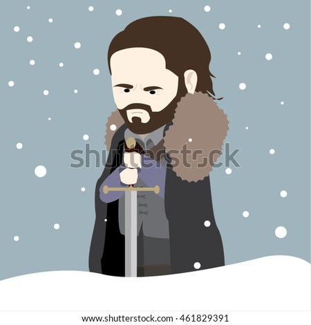 Medieval Character in the Winter Holding a Sword